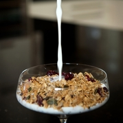 Cranberry coconut & chia seed granola with milk