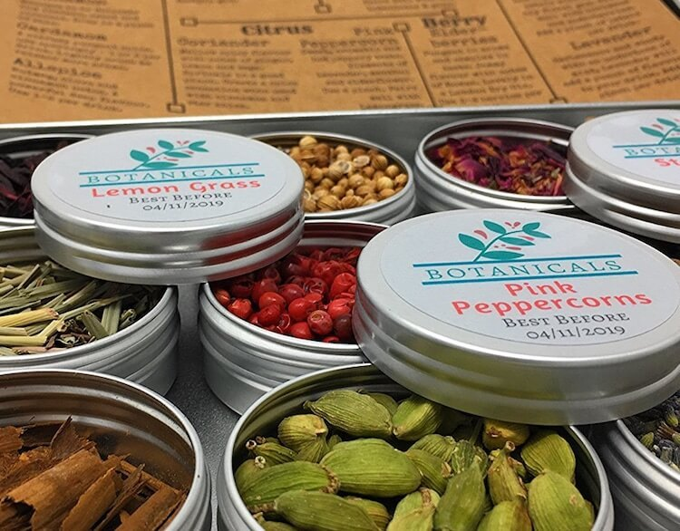 Tingredients botanicals gin infusions